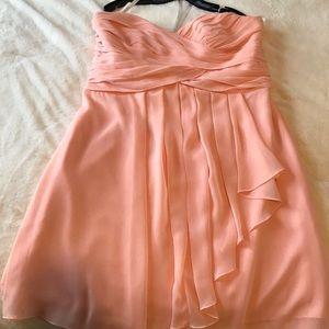 Peach Chiffon Assymetrical Knee Height Dress